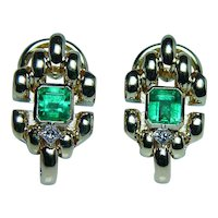 Colombian Emerald Diamond 18K Gold Earrings Fine Designer