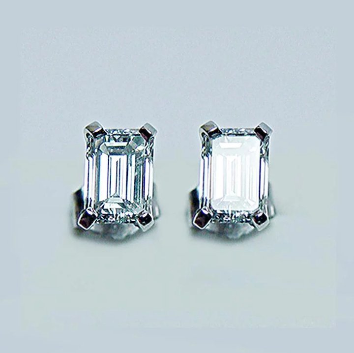 1 0ct Vs H Emerald Cut Diamond Stud Earrings 14k White Gold