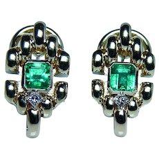Colombian Emerald Diamond 18K Gold Earrings Fine Designer