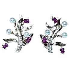 Vintage Diamond Ruby Akoya Pearl 14K Gold Earrings Naturalistic