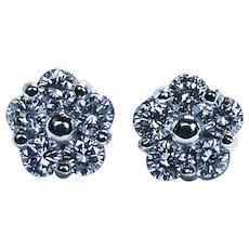 Vintage Diamond Earrings Studs Platinum Estate VVS/EF