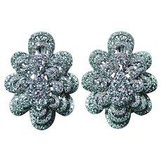 Large 3.5ct Diamond Earrings 14K White Gold Large Omega Estate