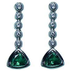 Vintage  Gem Emerald Diamond Earrings 18K White Gold