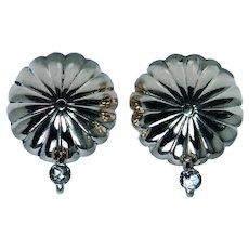 Vintage 14K Gold Rose cut Button Diamond Earrings Non Pierced Clip on Clips
