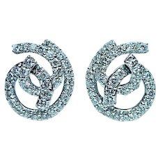 Vintage Designer 18K White Gold 2.1ct Diamond Earrings Omega backs