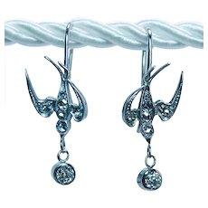 Victorian Antique European Rose Cut Diamond Dangle Swallow Earrings 14K Gold Estate Dainty