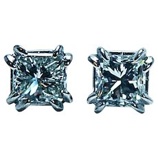 .95ct Vintage Princess Diamond Solitaire Stud Earrings Platinum VS2 clarity I color