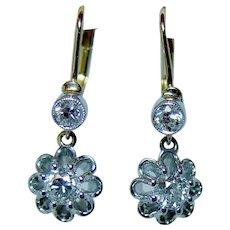 Art Deco Old Miner Mine Diamond Earrings 18K Gold DORMEUSES French Backs Estate