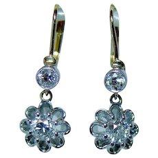Art Deco Old Miner Mine Diamond Earrings 18K Gold DORMEUSES French Backs