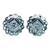 Diamond Solitaire Stud Filigree Earrings Platinum 14K White Gold