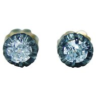 Antique Victorian Old Mine Cut Miners Diamond Stud Solitaire Earrings 14K Gold Estate