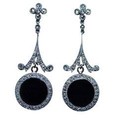 Edwardian Rose cut Diamond 14K Gold Platinum Estate Dangle Earrings