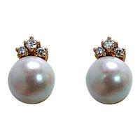 Designer Pearl Diamond Stud Earrings 18K Gold Signed