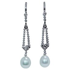 "John Atencio 18K White Gold Diamond Pearl Dangle Earrings Designer Long 2-3/8"""