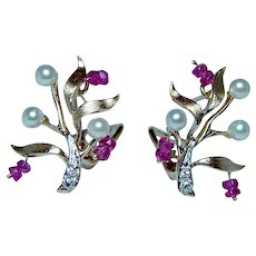 Diamond Ruby Akoya Pearl 14K Gold Earrings Naturalistic