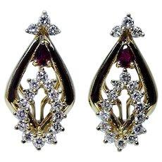 18K Gold Ruby Diamond Earrings Heavy Quality