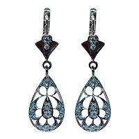 "Russian Vintage Diamond Dangle Earrings 14K Rose Gold Estate 1.5"""