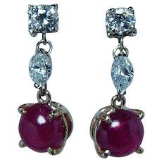 Vintage Ruby Marquise Diamond Dangle Earrings 14K Gold Estate