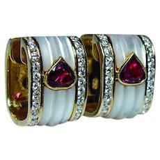 Vintage Ruby Heart Diamond Earrings 18K Gold High End Hallmarked