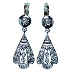 """Russian Soviet USSR Diamond Dangle Earrings 18K Gold 1.5"""" Long"""