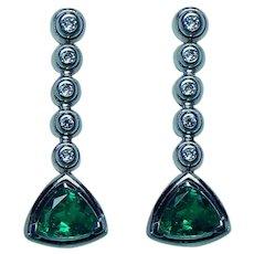 Vintage Gem Emerald Diamond Earrings 18K White Gold