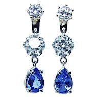 Vintage 1.6ct Diamond Sapphire Earrings Jackets 14K White Gold Estate Jewelry