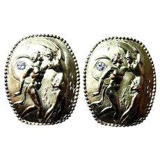 18K Gold 21gr Seidengang Athena Diamond Earrings Vintage