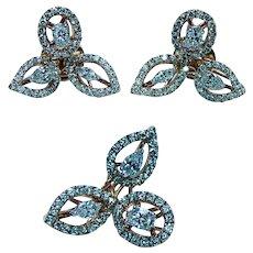 Vintage Marquise Oval Pear Diamond Earrings Pendant Set 18K Rose Gold Designer
