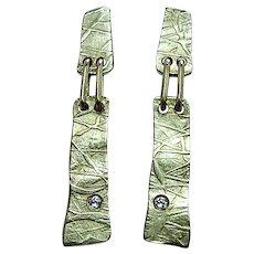 H STERN 18k Gold Diamond Artwork Portfolio Drop Earrings