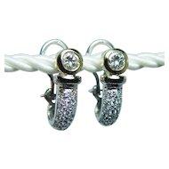 Vintage SI-H 1.46ct Diamonds Huggie Earrings 18K Gold Estate Omega