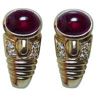 Vintage 18K Gold Rubellite Tourmaline Diamond Earrings  Estate