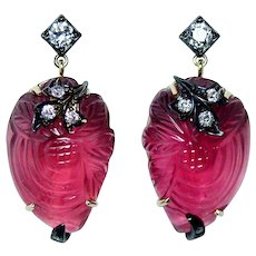 Vintage Old European Diamond Rubellite Tourmaline Earrings 14K Gold Estate
