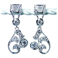 Vintage Platinum 1.8ct Diamond Colorless Earrings Large Dangle