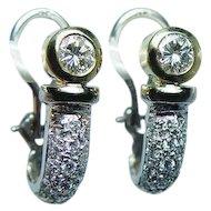 Vintage 18K Gold Diamond Huggie Earrings Estate Omega