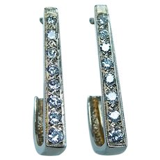 Vintage 14K Gold Diamond Earrings Long over 1""