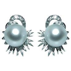 Platinum 1.3ct Diamond 14mm Tahitian South Sea Pearl Earrings Large 1960s Mid century