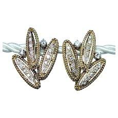 Giant Opulent Vintage Diamond Earrings 18K Gold circa 1960s