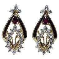 Vintage 18K Gold Ruby Diamond Earrings Heavy  Quality Estate