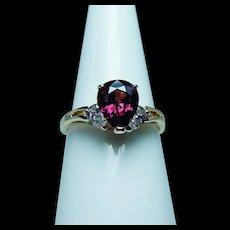 Vintage 18K Gold Pear Diamond Rhodolite Garnet 3 stone Ring Estate