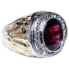Vintage 18K Gold Rhodolite Garnet Diamond Ring Carved Heavy 1930s