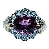 Krementz Platinum 18K Gold Rhodolite Almandine Garnet Diamond Ring Designer GIA