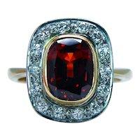 Stephen Webster Cushion Almandine Garnet Diamond Halo Ring 18K Gold Vintage