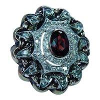 Giant Vintage Garnet Diamond Ring 18K Rose Gold Heavy Estate