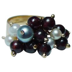 Vintage 18K Gold Dangling Garnet Beads  Genuine Cultured Pearls Ring Heavy Estate