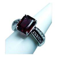 Vintage 14K White Gold Diamond Rhodolite Garnet Ring Estate