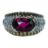Designer Laura Ramsey Cushion Rhodolite Garnet Diamond 14K Gold Ring Vintage
