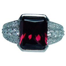 Platinum Diamond Flawless Rhodolite Garnet Ring Very Heavy
