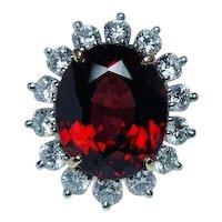 Large Rhodolite Garnet Diamond Cocktail Ring 18K Platinum