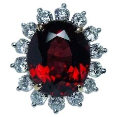 Vintage Rhodolite Garnet Diamond Cocktail Ring 18K Platinum Estate