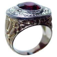 Vintage 18K Gold Rhodolite Garnet Diamond Ring Carved Heavy Estate 1930s